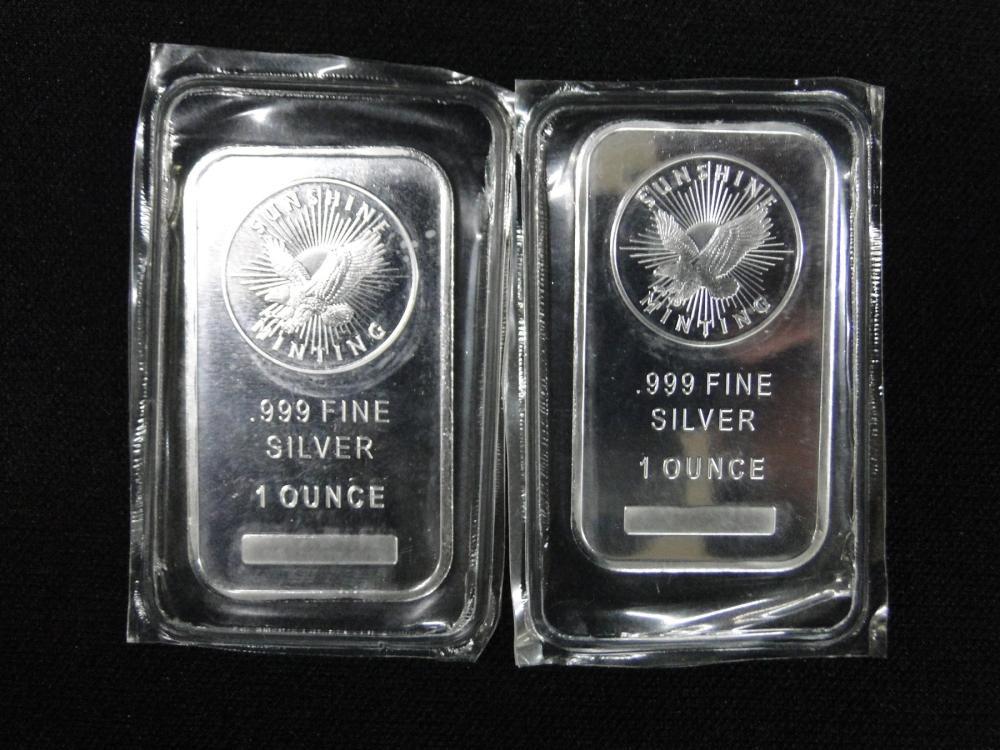 2 Sunshine Minting Silver Bars