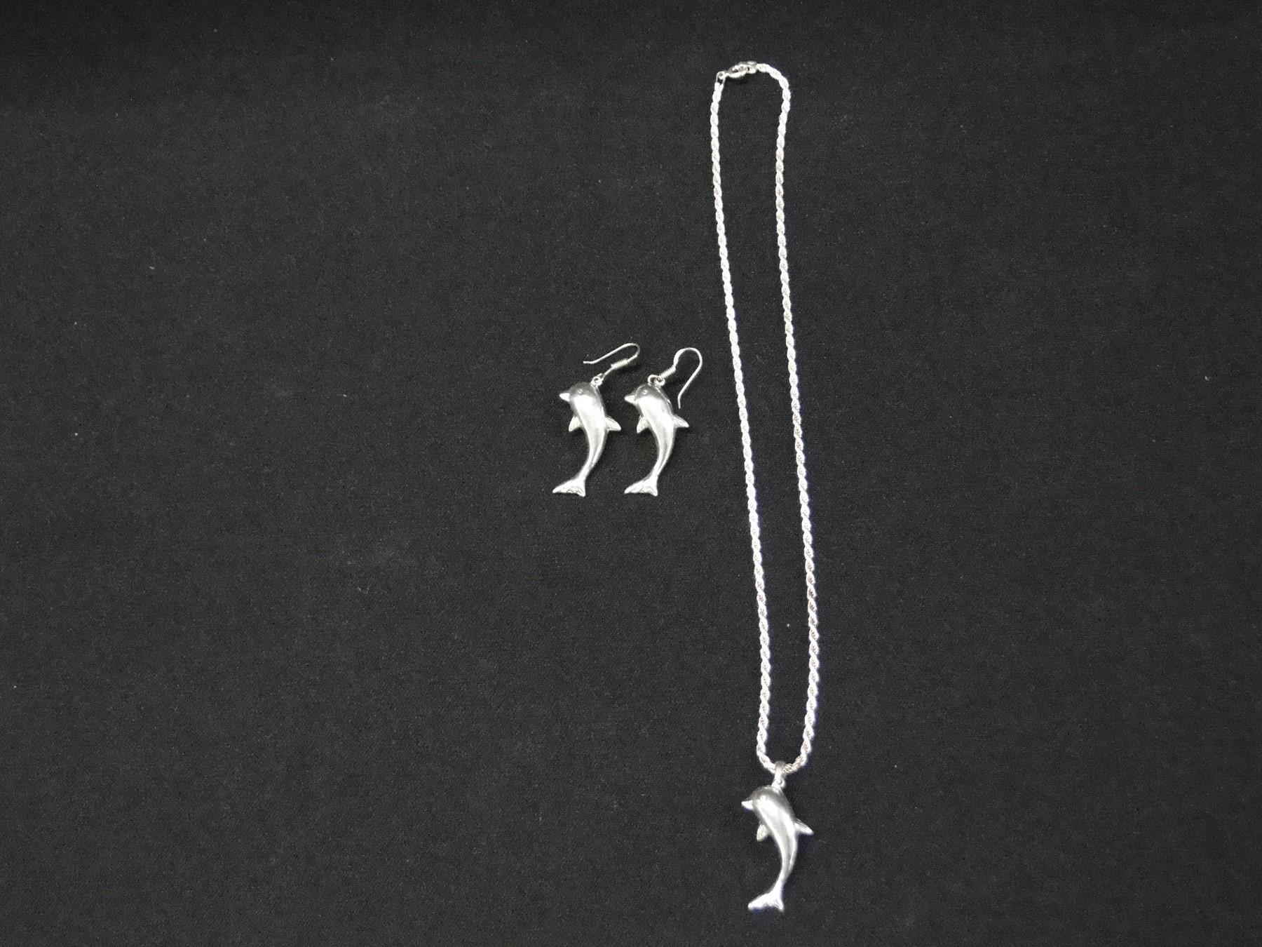 18in Sterling Necklace w/ Dolphin Pendant