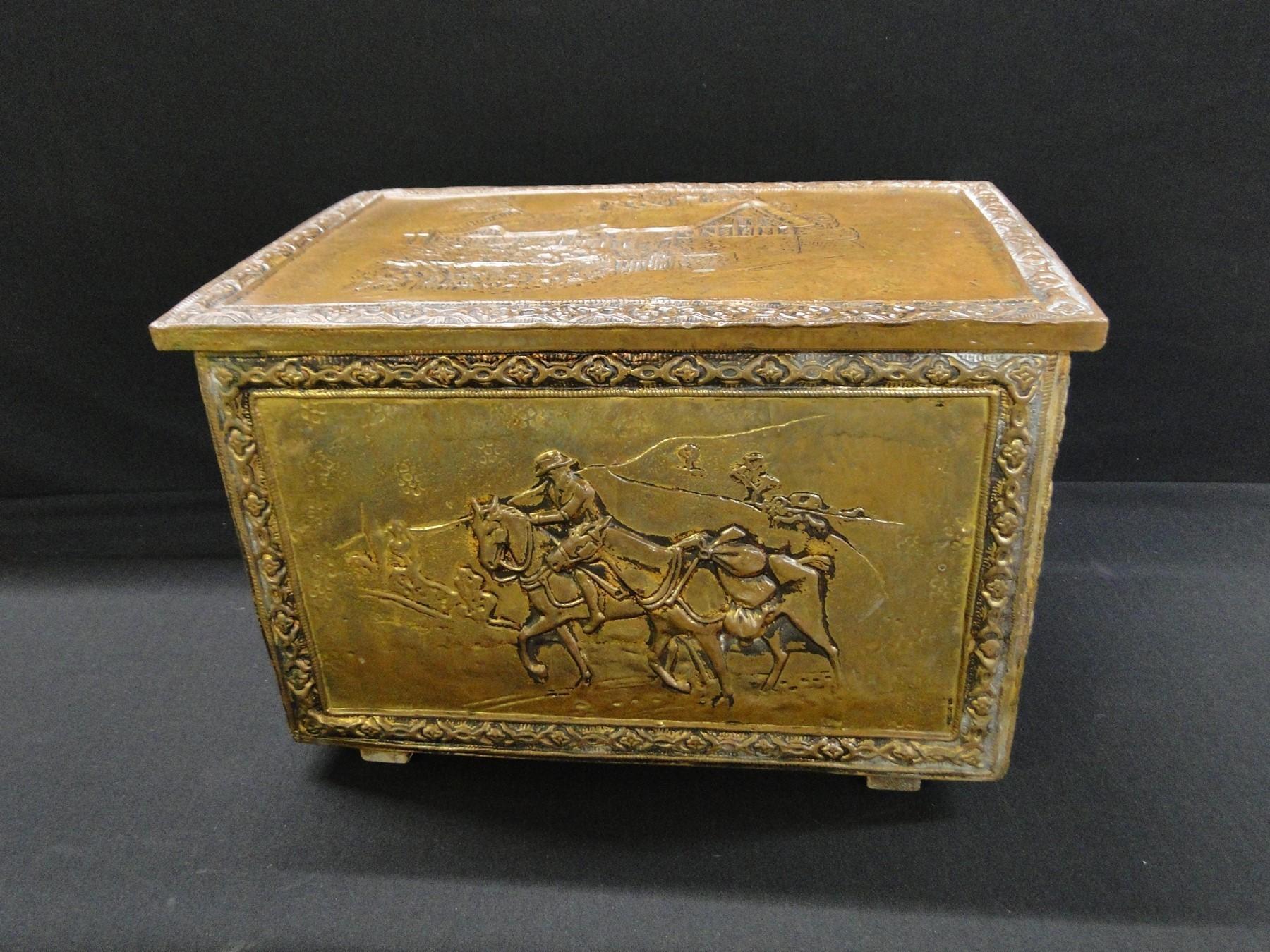 Antique English Brass Log Box