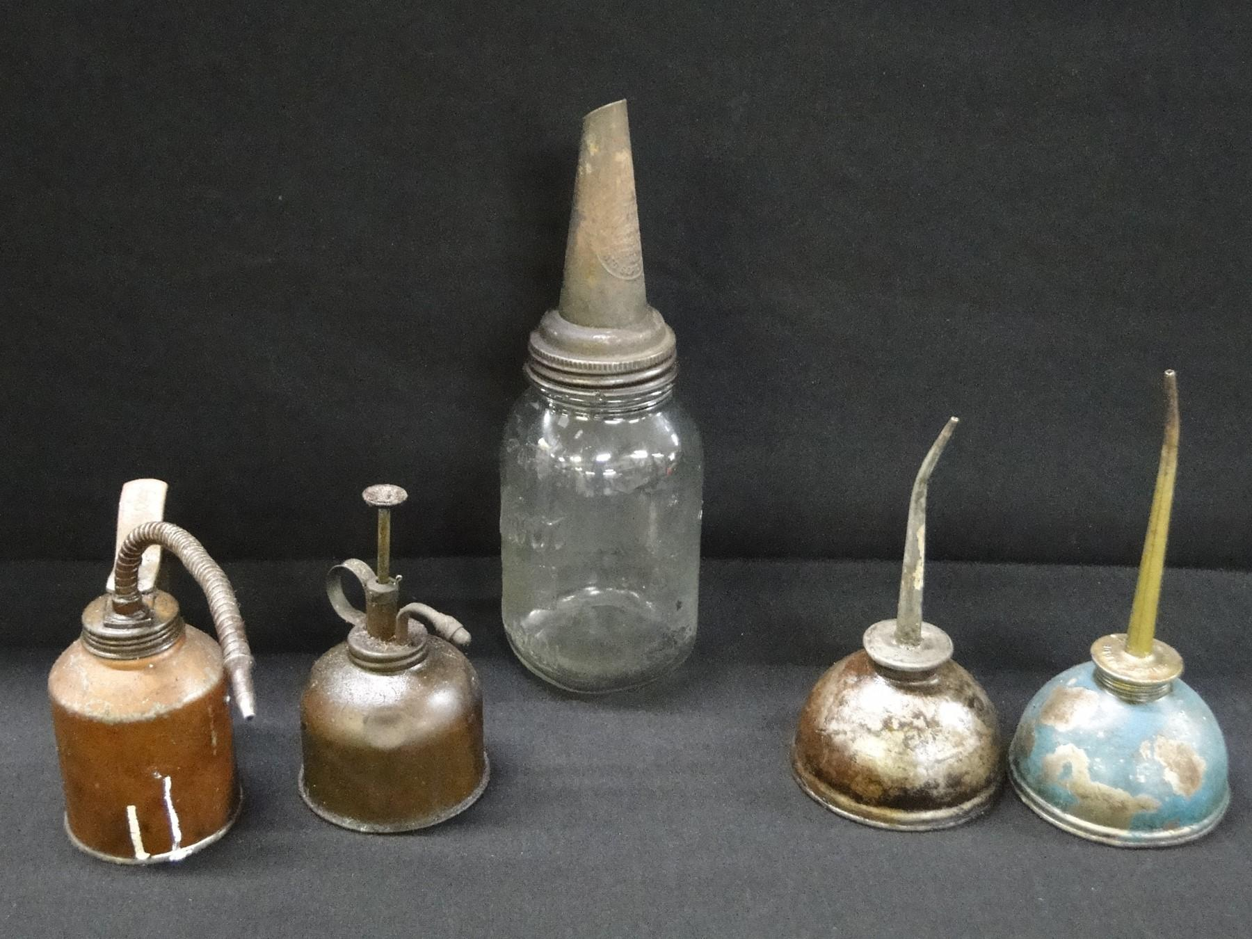 Lot of Vintage Oil Spout and Small Oil Cans
