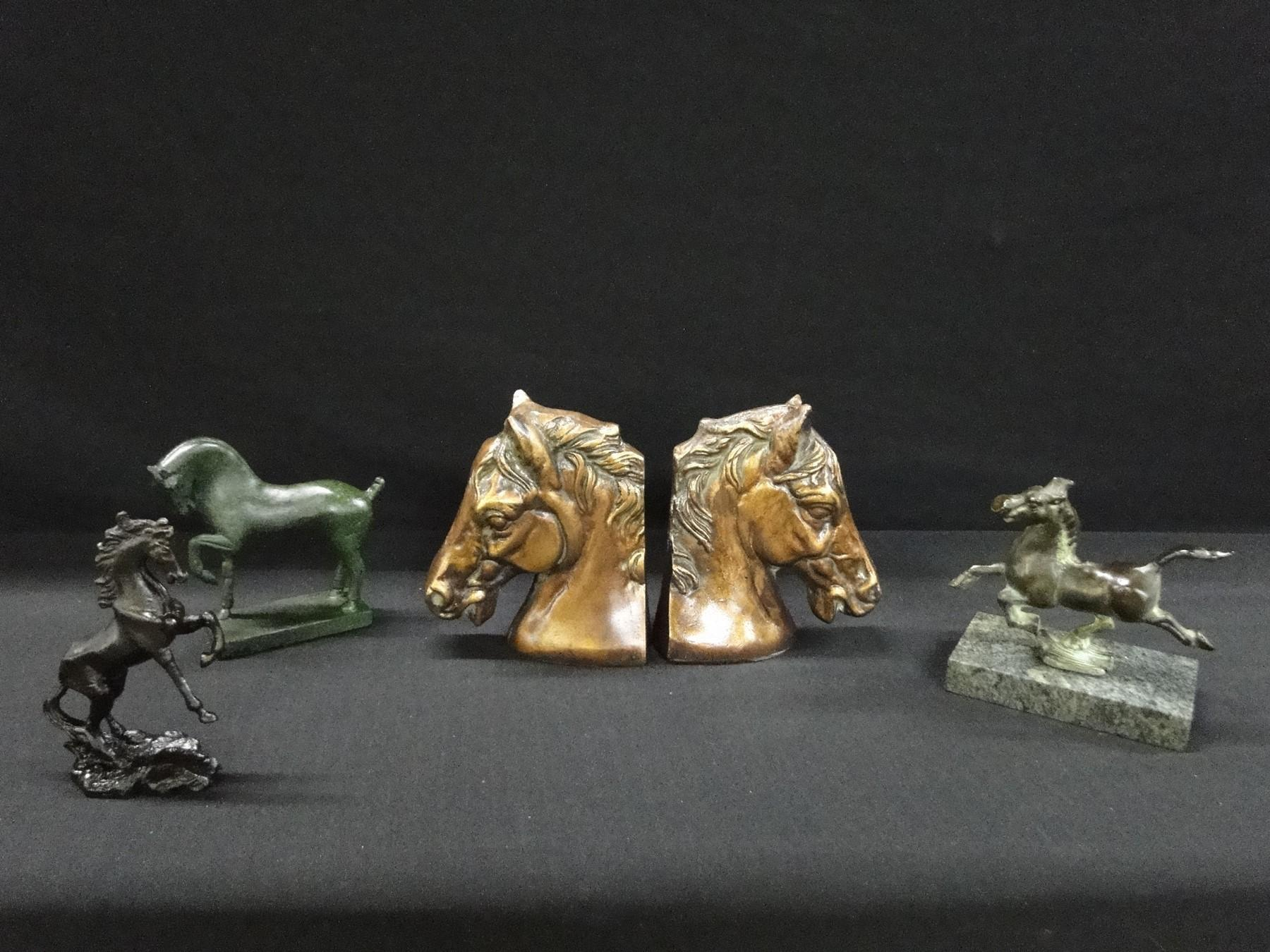 Lot of 4 Horses Bookends and 3 Statues