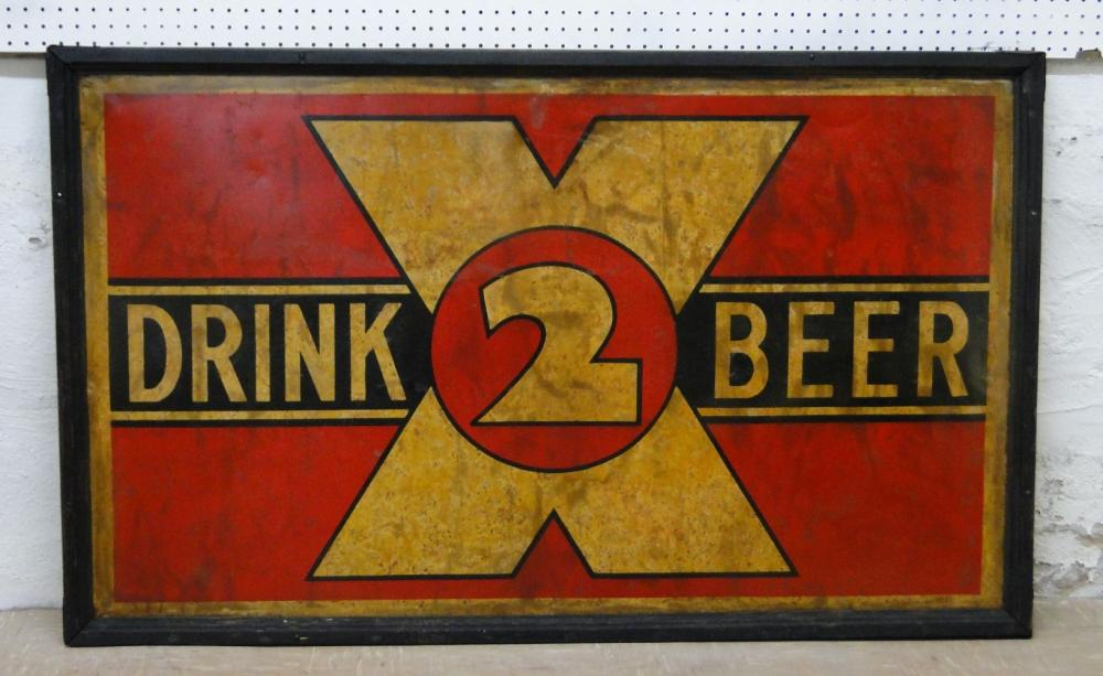 Rare Tin, Drink 2 X Beer Double Sided Advertising