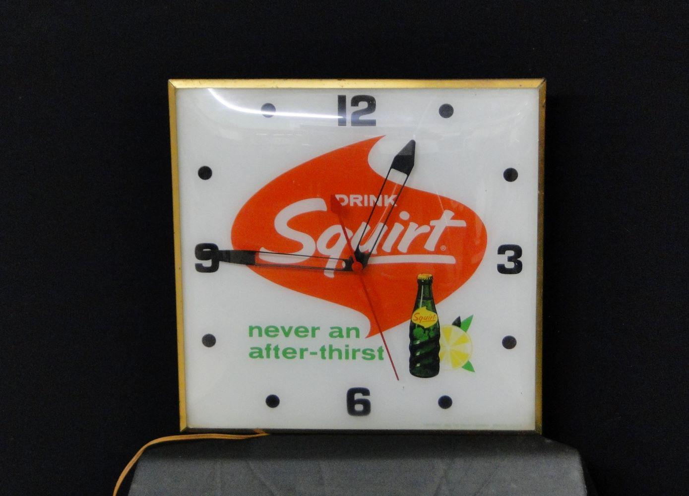 Vintage Drink Squirt Square Clock