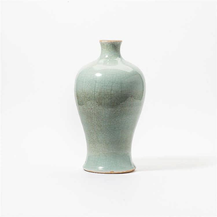 A baluster-shaped celadon vase