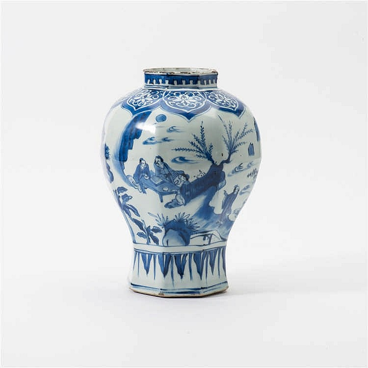 An octagonal blue and white vase