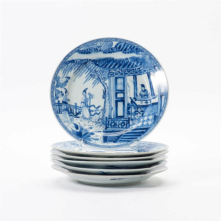 A series of six blue and white plates