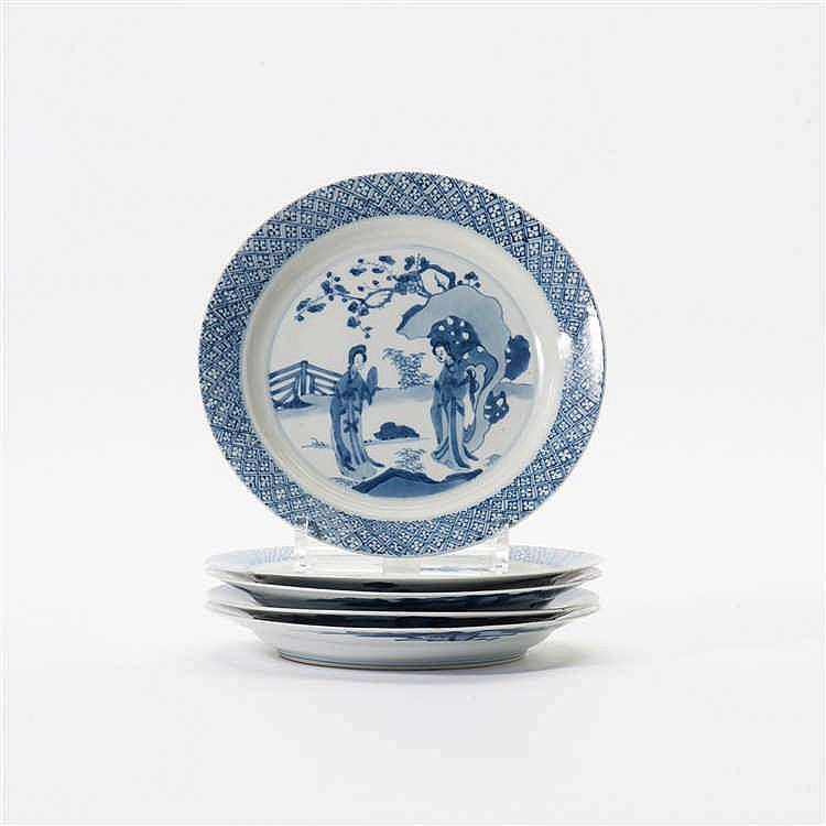 A series of five blue and white plates