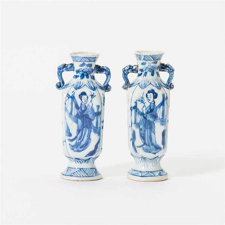 A pair of square blue and white vases with two handles