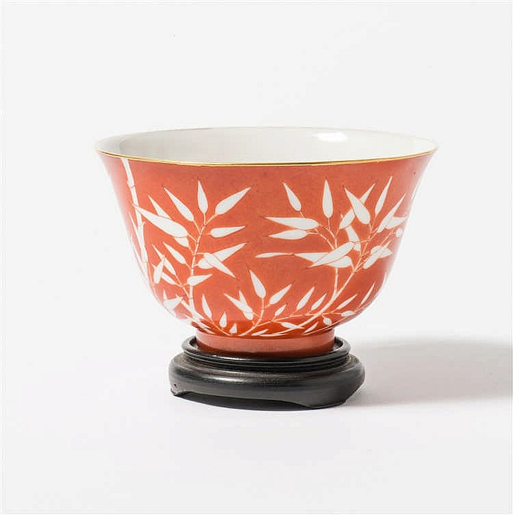 A coral red bowl