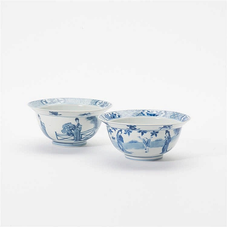 Two blue and white 'klapmuts' bowls