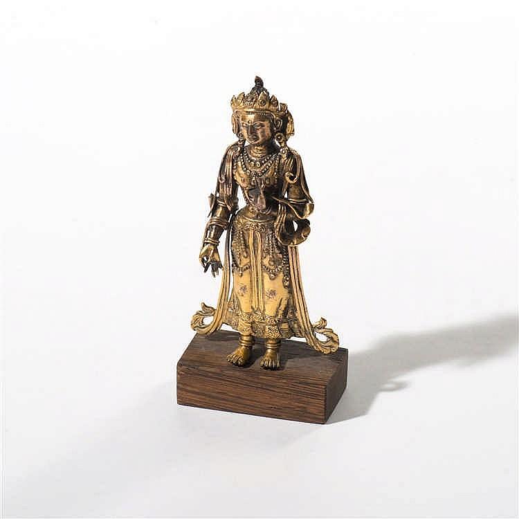 A gilt bronze standing Maitreya