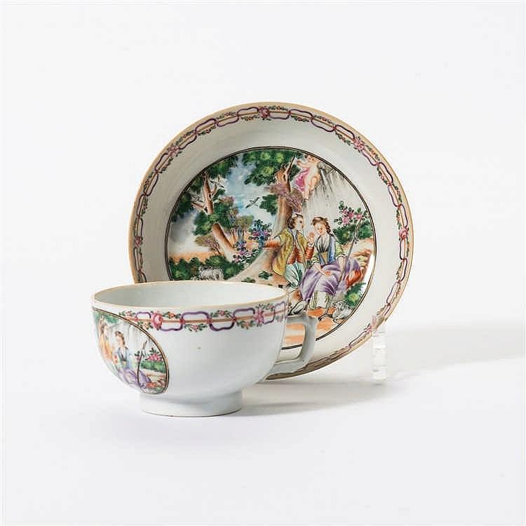 A 'Chine de Commande' teacup and saucer