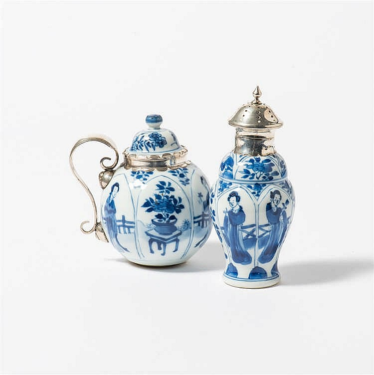 A blue and white mustard pot with lid and a similar castor