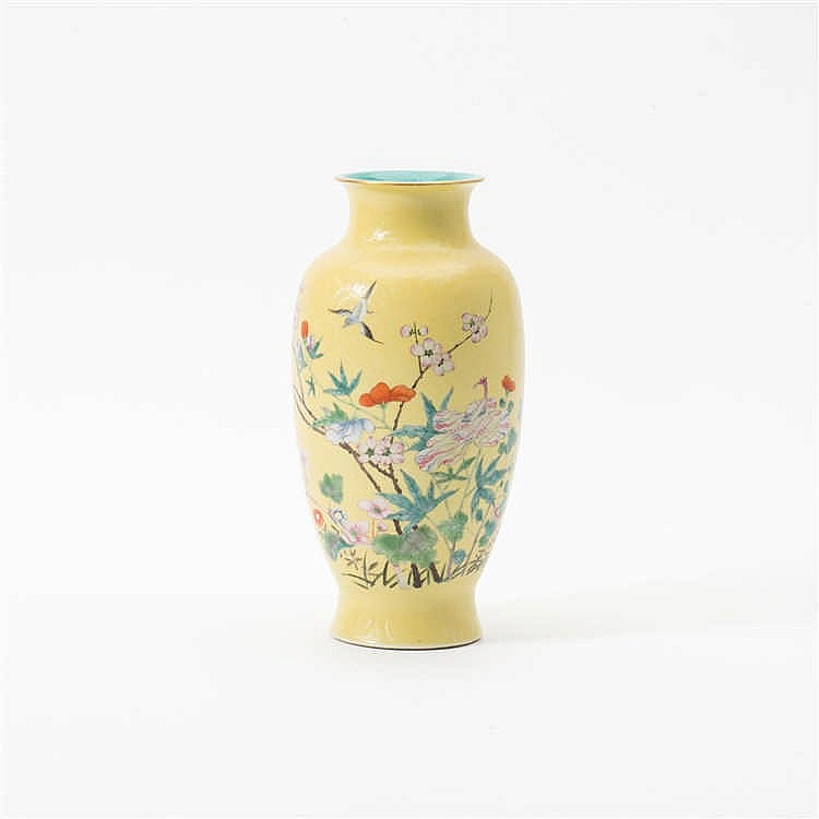 A  'famille-rose' vase with yellow  sgrafitto ground