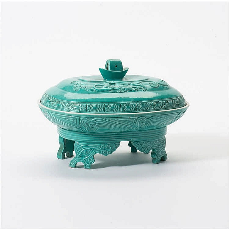 A turquoise enamelled archaic lidded vessel