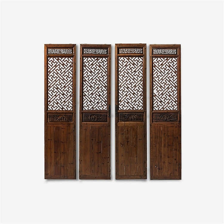 Four large wooden panels