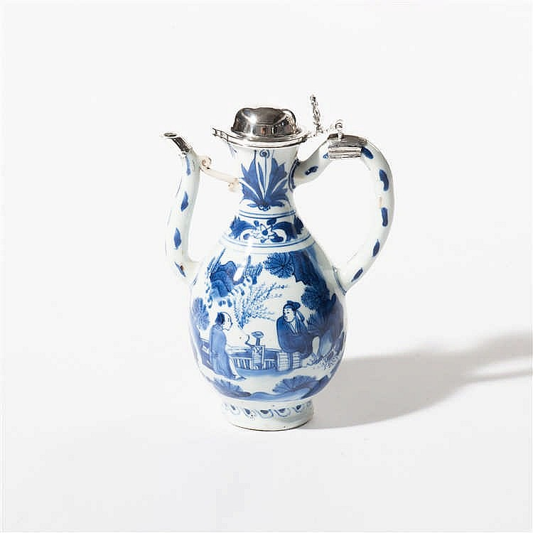 A blue and white jug
