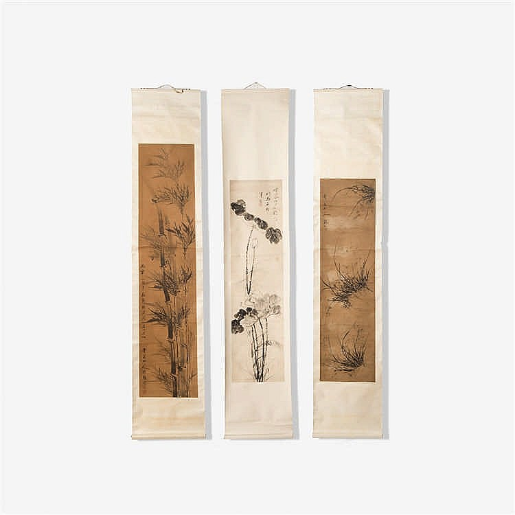 A series of three scroll paintings on paper
