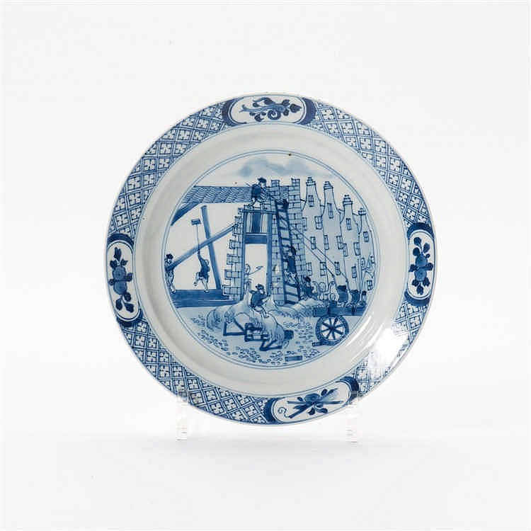 A blue and white 'Chine de Commande' plate
