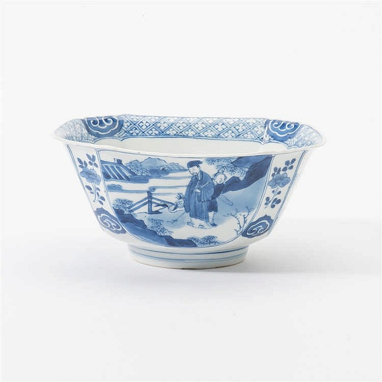 A square blue and white bowl