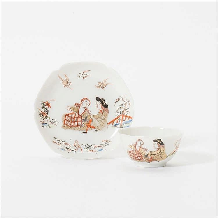 A hexagonal 'Chine de Commande' cup and saucer