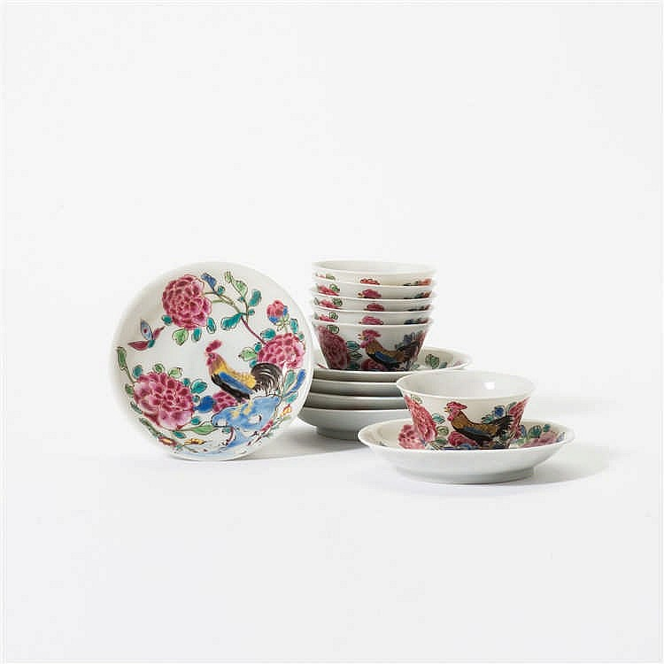A series of six 'famille-rose' cups and saucers