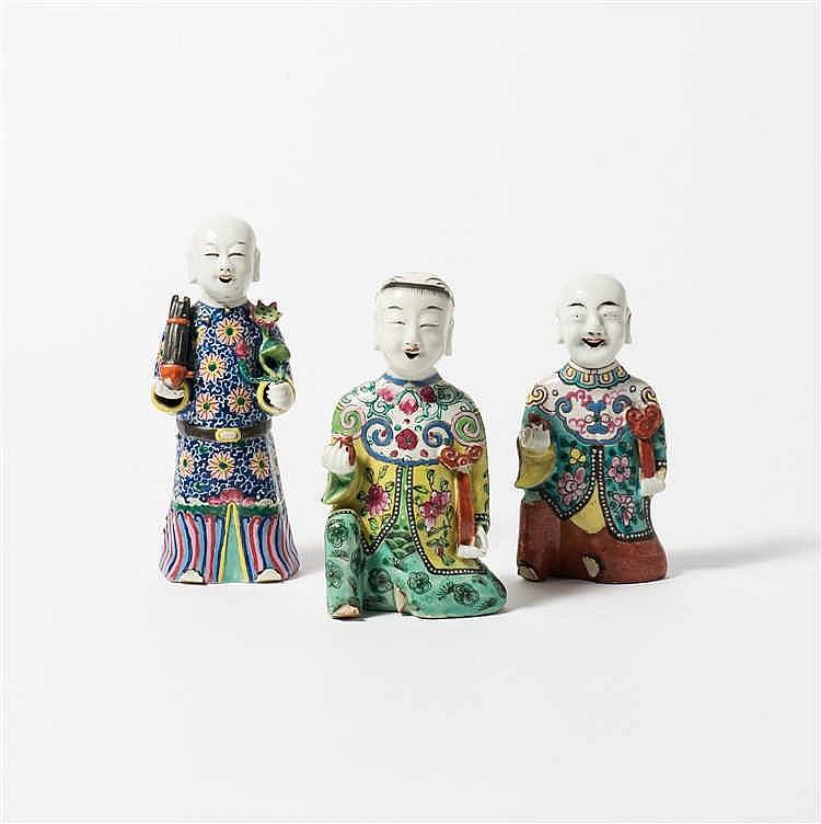 Three 'famille-rose' figures