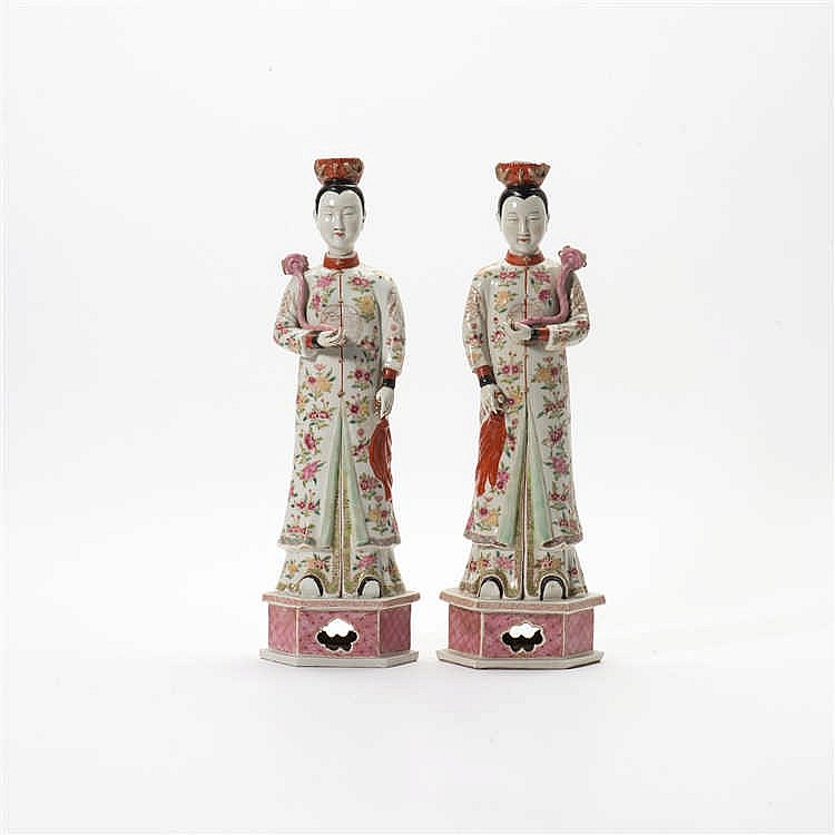 A pair of 'famille-rose' standing figures