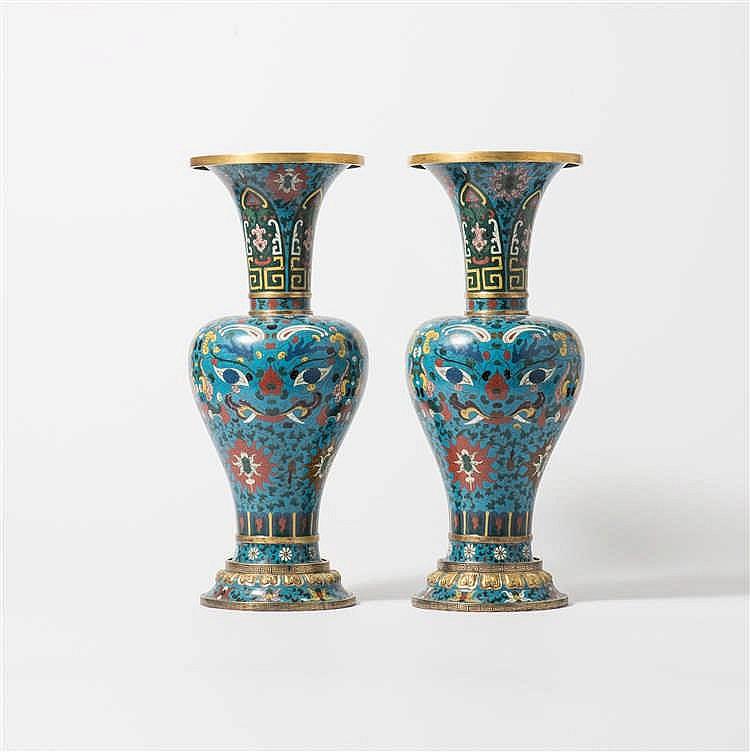 A pair of baluster-shaped gilt bronze cloisonné enamel vases