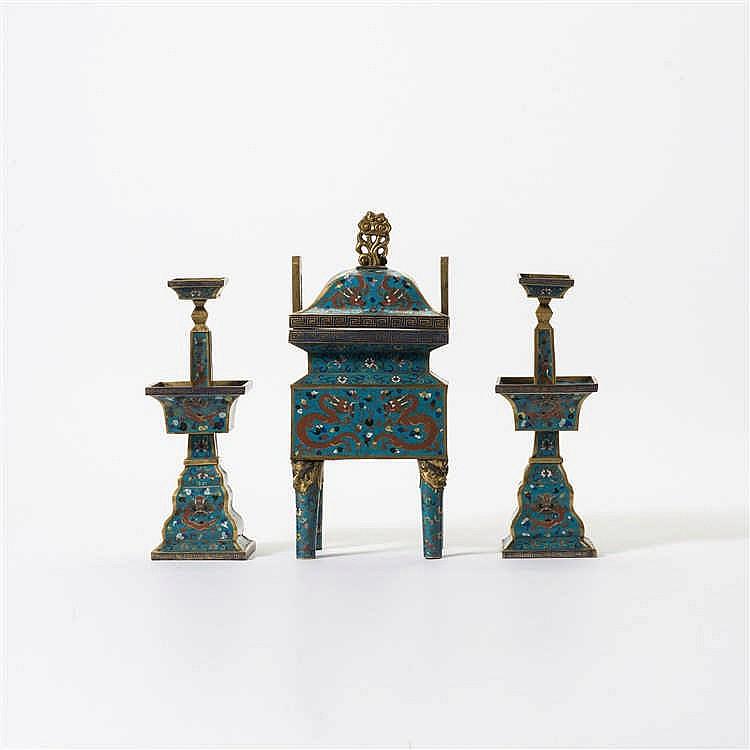 A three-part gilt bronze and cloisonné enamel altar set