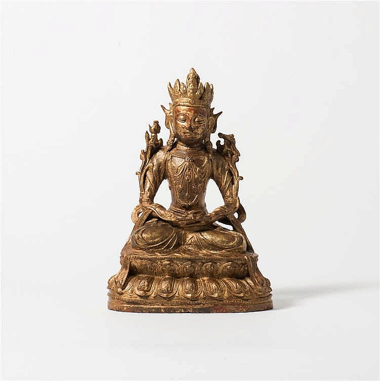 A gilded and laqcuered bronze Boddhisattva