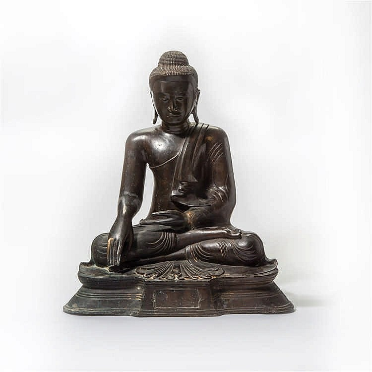 A large enthroned bronze Buddha