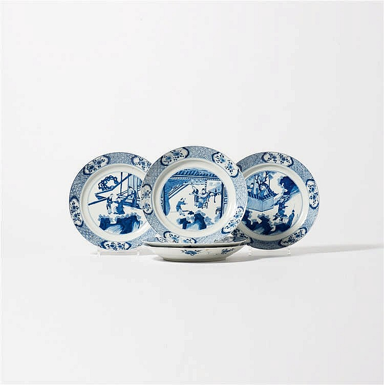 Five blue and white dishes
