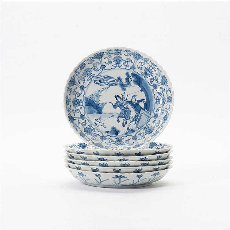 A series of six blue and white dishes