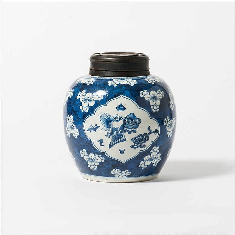A blue and white ginger jar