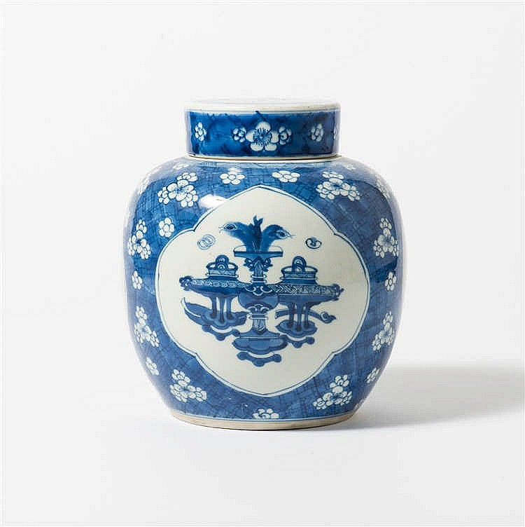 A blue and white  ginger jar with lid