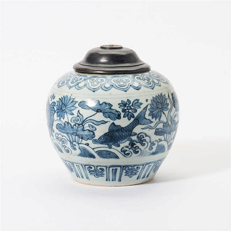 A bulbous blue and white vase
