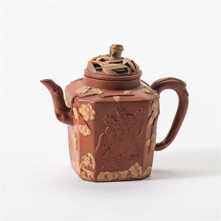 A square Yixing teapot with lid