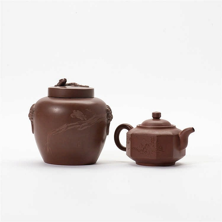 A Yixing vase with lid and a similar teapot with lid