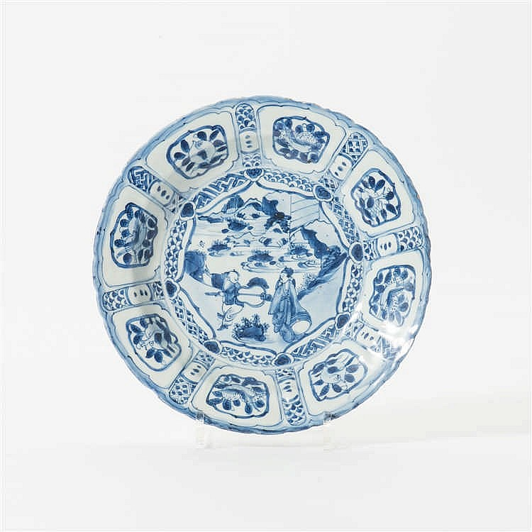 A 'kraak' porcelain dish with outlined rim