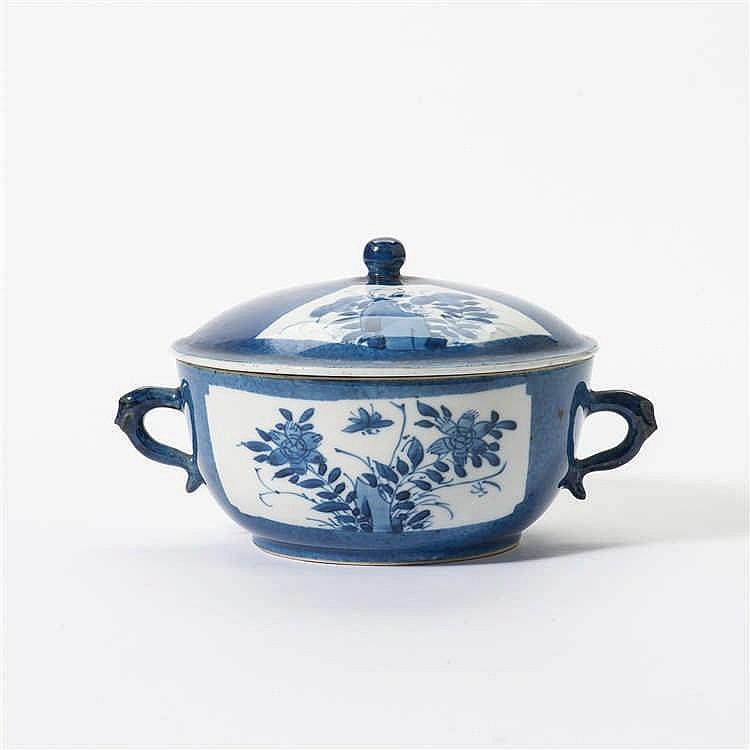 A powder-blue lidded bowl