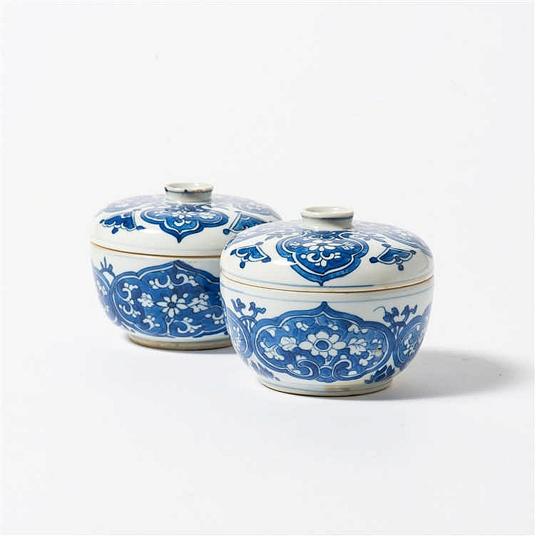 A pair of blue and white bowls with lids
