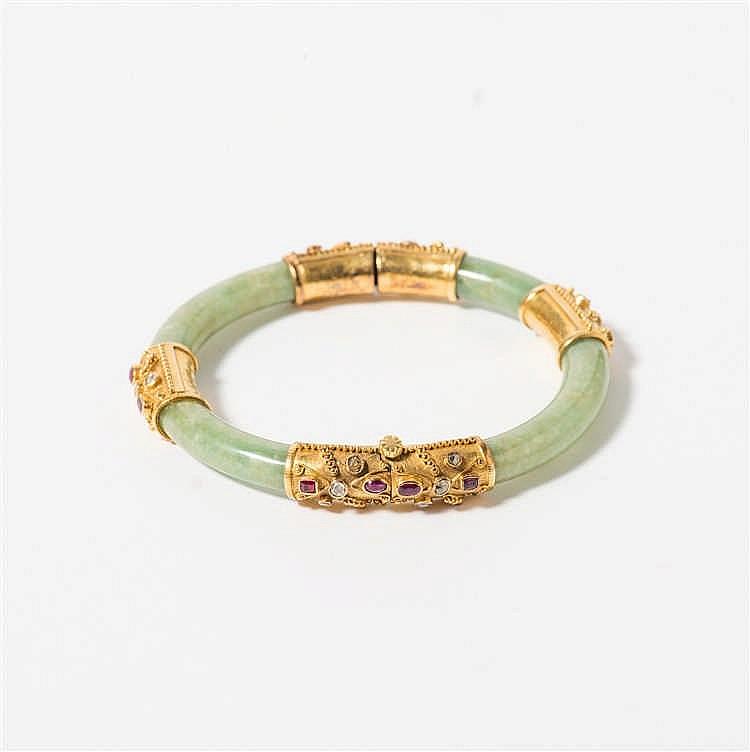 A gold, jade, diamond and ruby bracelet