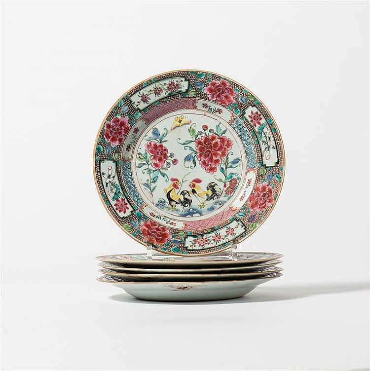 A series of five 'famille-rose' plates