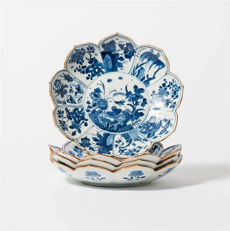 A series of four blue and white dishes