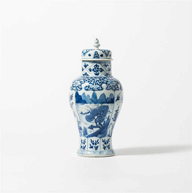 A baluster-shaped blue and white vase