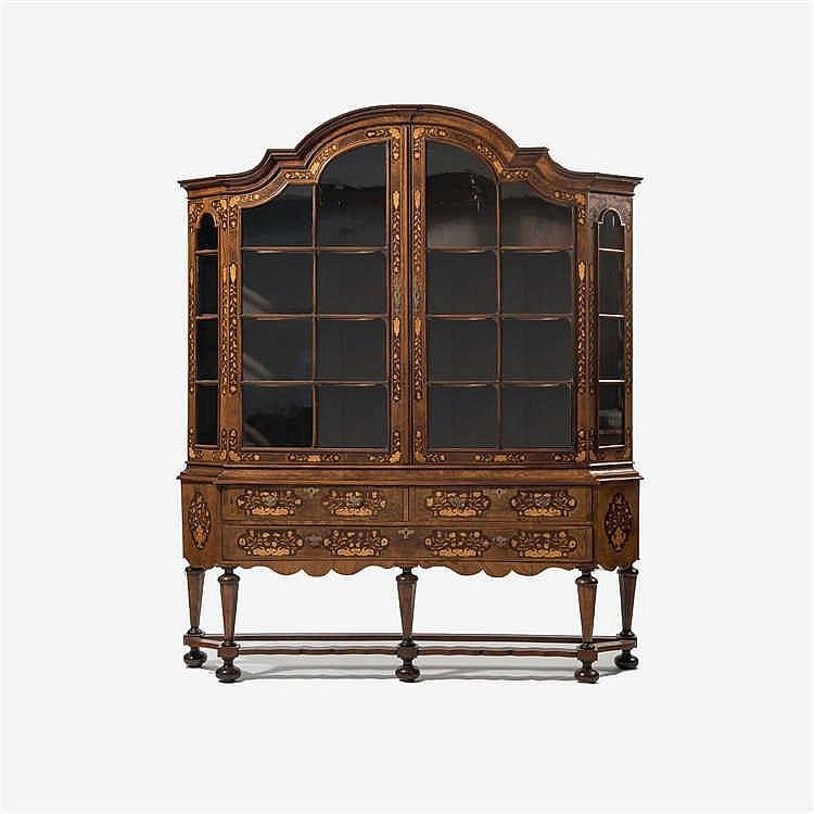 A two-door display cabinet with burr walnut veneer