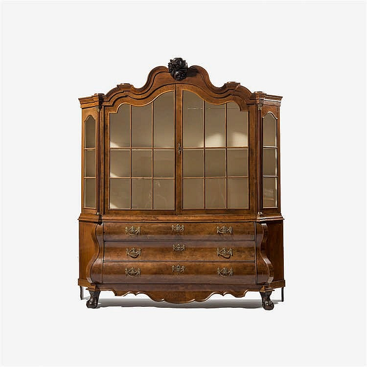 A two-door burr walnut display cabinet