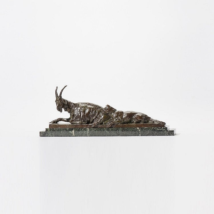 A bronze sculpture 'Goat and dog'