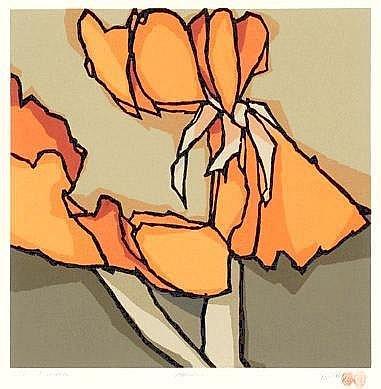 Fon Klement Amsterdam 1930 - 2000 a) Amaryllis Genummerd 31/90, 53 x 53 cm. b) Capucine Genummerd 11/90, 53 x 52 cm. Beide gesigneerd en gedateerd '90 r.o. Beide kleurenlitho, beide eigen druk Twee in totaal